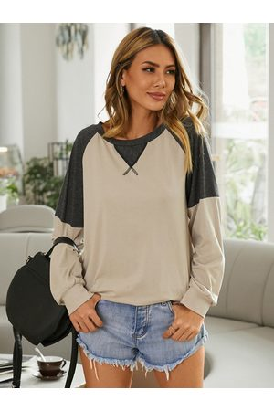 YOINS Apricot Patchwork Round Neck Long Sleeves Tee