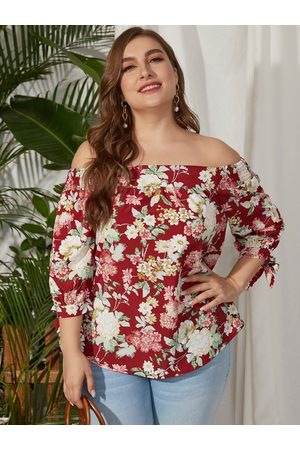 YOINS Plus Size Off The Shoulder Floral Print Half Sleeves Blouse