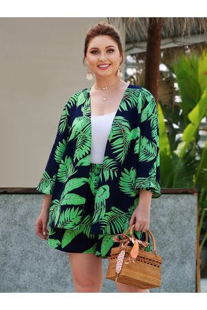 YOINS Plus Size Green Elastic Waist Tropical Two Piece Outfit