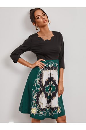 YOINS Round neck Scarf print Midi Dress