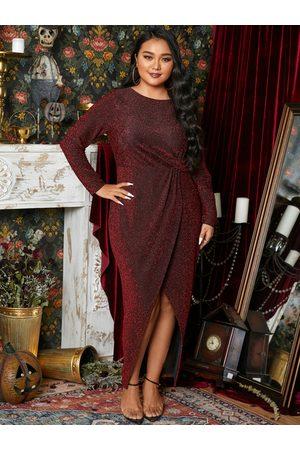 YOINS Plus Size Halloween Crew Neck Slit Design Long Sleeves Maxi Dress