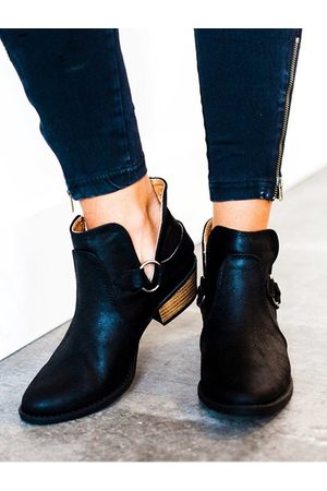 YOINS Suede Pointed Sheer Ankle Boots