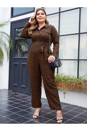 YOINS Plus Size With Belt Leopard Long Sleeves Jumpsuit