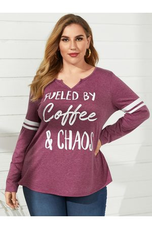 YOINS Plus Size V-neck Letter Long Sleeves Tee