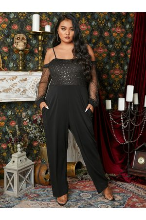 YOINS Plus Size Halloween Cold Shoulder Spaghetti Strap Long Sleeves Jumpsuit