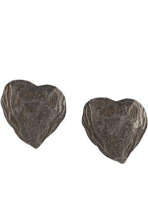 Yves Saint Laurent Textured-finish heart-shaped earrings