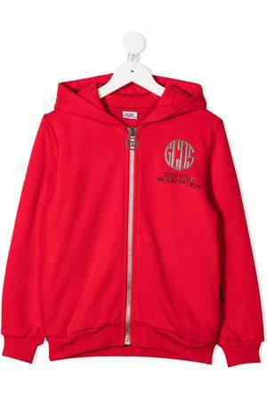 GCDS Logo-print zipped hoodie