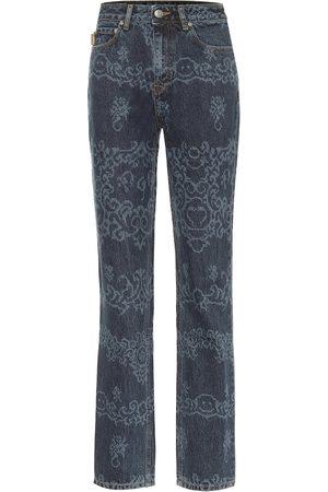 Ganni Printed high-rise straight jeans