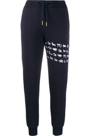 Thom Browne Embroidered Animal Icon 4-Bar track pants