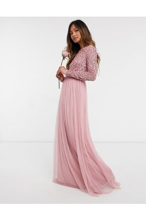 Maya Bridesmaid long sleeved maxi dress with delicate sequin and tulle skirt in vintage rose