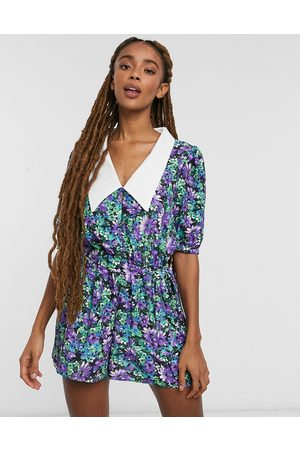ASOS Contrast collar playsuit in lilac floral print