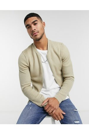ASOS Knitted basket stitch bomber jacket in oatmeal