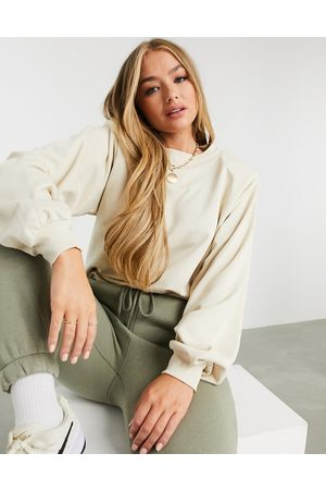 ASOS Sweatshirt with padded shoulder in sand