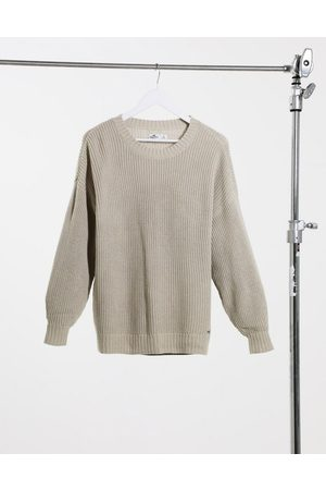 Hollister Crew neck knitted jumper in oatmeal-Neutral