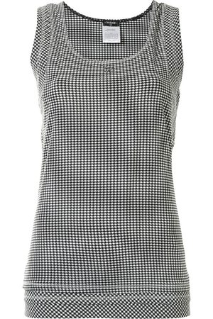CHANEL 2008 check print sleeveless top