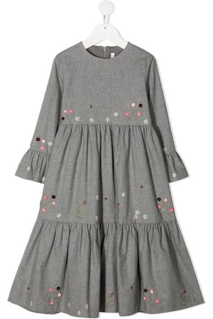 Il gufo Floral embroidered long tiered dress
