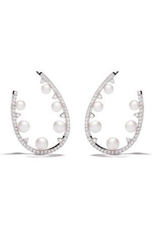 Yoko London 18kt white gold Sleek Akoya pearl and diamond earrings
