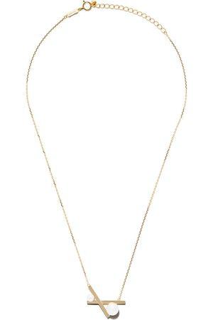 Tasaki 18kt yellow Balance cross Akoya pearl pendant necklace