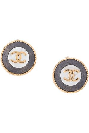 CHANEL 1996 CC button clip-on earrings