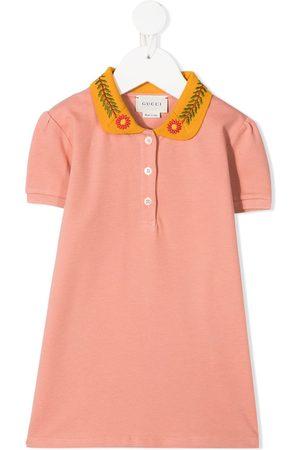 Gucci Boys Polo Shirts - Floral-embroidered polo shirt