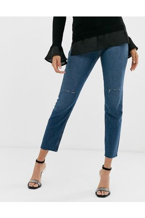 ASOS Recycled high rise farleigh 'slim' mom jeans in dark wash with slashed knee rips and raw hem detail