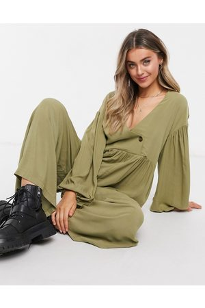 ASOS Wrap smock jumpsuit with button in khaki