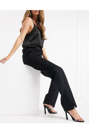 In The Style X Shaughna high waist flared jeans with side splits in