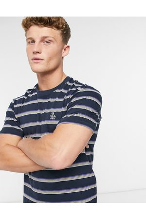 Original Penguin T-shirt in with multi stripe and small logo