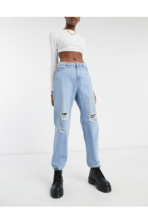 Noisy May Distressed dad jeans in light