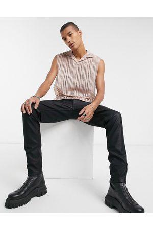 ASOS Relaxed sleeveless revere polo in mesh ladder fabric