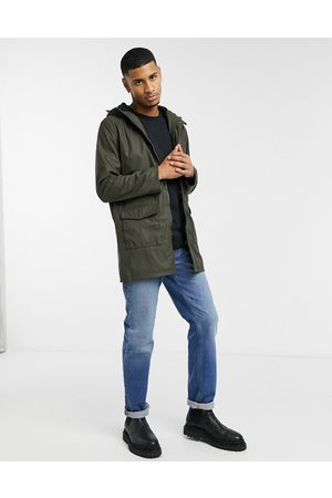 French Connection Coated hooded fleece lined parka coat in khaki