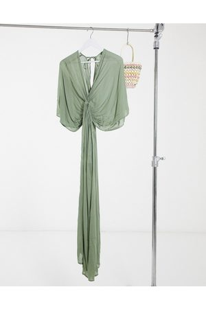 ASOS Drape maxi beach dress in khaki