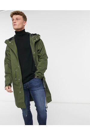 Pretty Green Lomas longline parka jacket in khaki