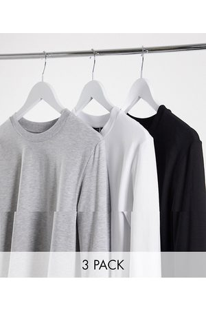 ASOS 3 pack muscle fit long sleeve t-shirt with crew neck