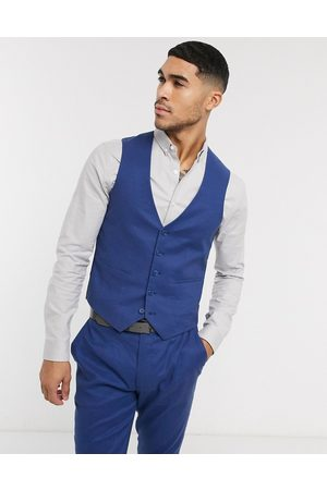 ASOS Wedding super skinny suit waistcoat in stretch cotton linen in
