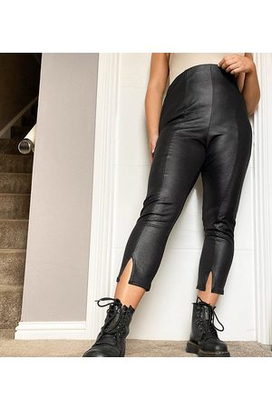 Yours Faux leather trousers with split hem in