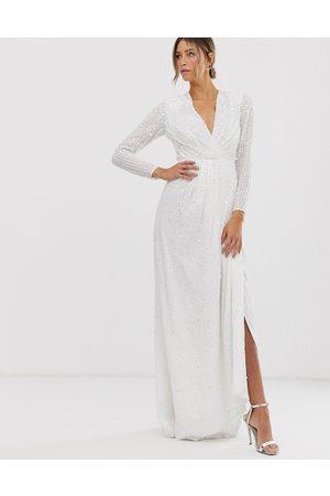 ASOS Alexa pleated plunge wrap wedding dress in sequin