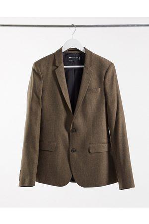 ASOS Wedding skinny wool mix suit jacket in camel herringbone