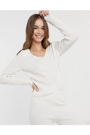 ASOS DESIGN Co-ord long sleeve rib jumper with buttons in cream