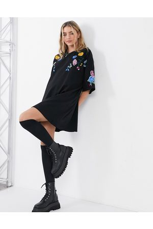 ASOS Oversized t-shirt dress with neck and sleeve floral embroidery in