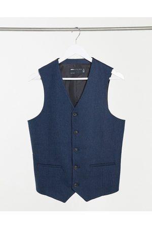 ASOS Wedding skinny wool mix suit waistcoat in herringbone