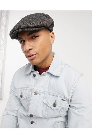 French Connection Winter flat cap in check-Navy