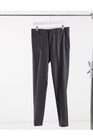 ASOS Wedding skinny wool mix suit trousers in charcoal herringbone