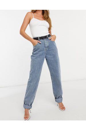 In The Style X Megan Mckenna straight leg frayed hem jean in