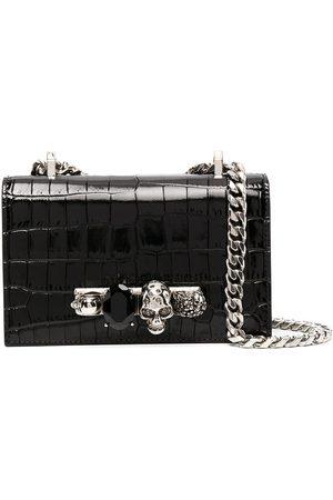 Alexander McQueen Mini Jewelled crocodile-embossed satchel