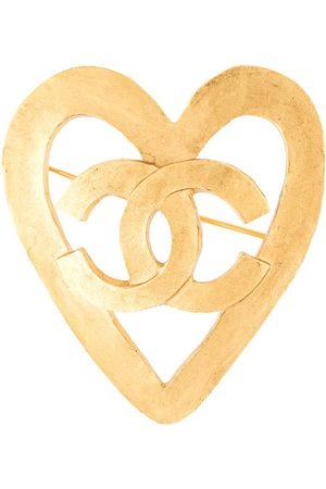 CHANEL 1995 CC heart motif brooch