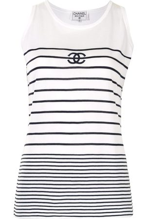 CHANEL Striped CC tank top
