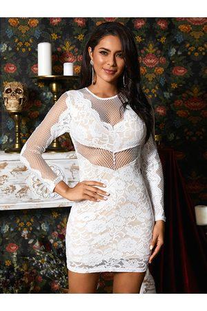 YOINS Stitching Design Round Neck Long Sleeves Mini Lace Dress