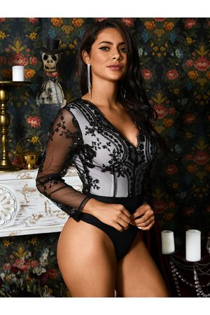YOINS Long Sleeves Embroidered Sequin Sexy Bodysuit
