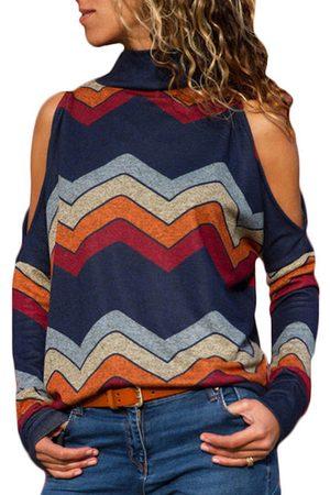 YOINS Women Long Sleeve - Color Block Random Stripe Cold Shoulder Long Sleeves Turtleneck Tee
